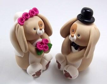 Bunny Cake Topper, Wedding Cake Topper, Handmade Figurine