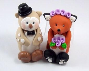 Wedding Cake Topper, Owl Groom, Fox Bride, Personalized Figurines, Custom Wedding Decoration, Polymer Clay Figurines, Handmade Gift