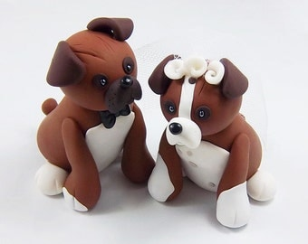 Boxer Dog Cake Topper, Wedding Cake Topper, Pet Cake Topper, Personalized Figurines