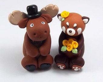 Wedding Cake Topper, Moose, Red Panda, Custom Cake Topper, Personalized Figurines