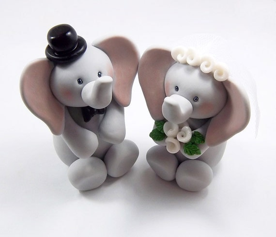Elephant Cake Topper Wedding Cake Topper Bride And Groom