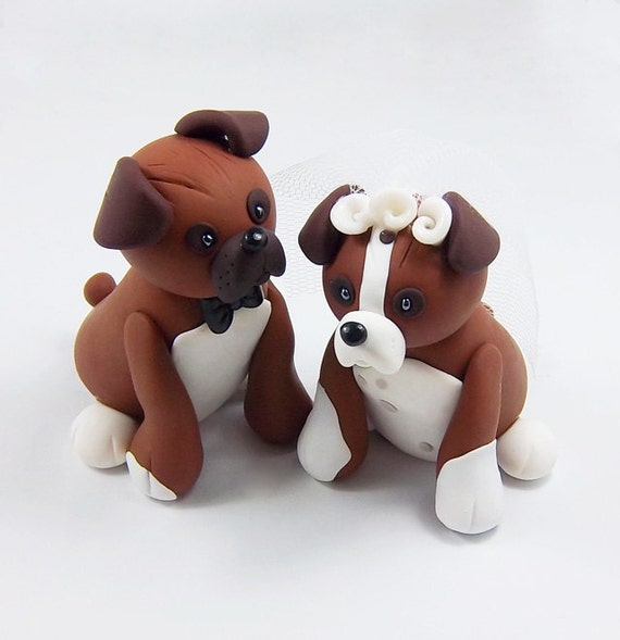 wedding cake topper with boxer dog boxer dogs custom wedding cake topper by heartshapedcreations 26654