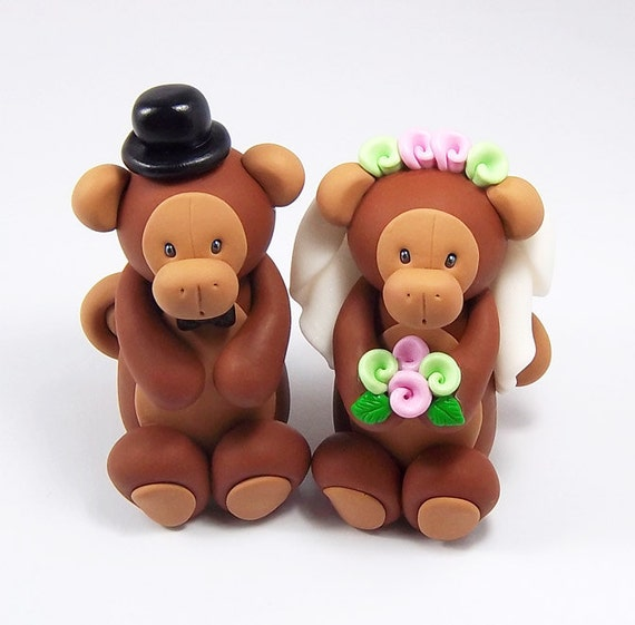 Monkey Cake Topper, Wedding Cake Topper, Chinese Zodiac Sign, Bride and Groom