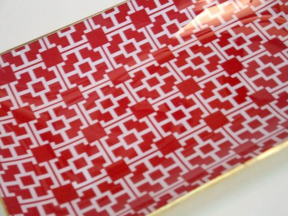 Glass Tray, Monogram pattern T
