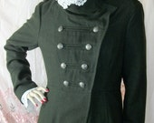 Army  Jacket  Green Wool with Antique Crochet Lace Trim British Double Breasted Size Medium 8-12 Excellent Condition