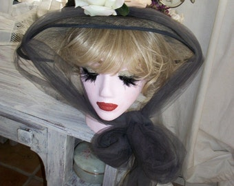 Victorian Sheer Black Hat with Grey Tulle and Silk Flowers Orig Design One of a Kind Exec Cond One Size Fits All