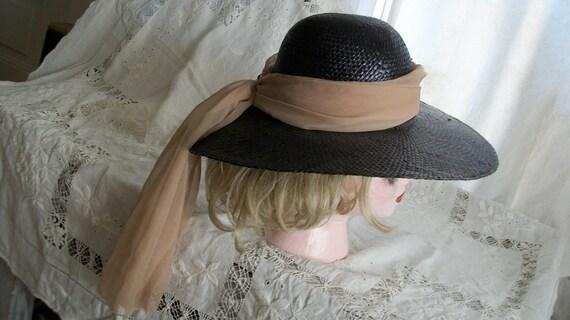 Vintage Audrey Hepburn Breakfast at Tiffanys Wide Brim Black Straw Hat