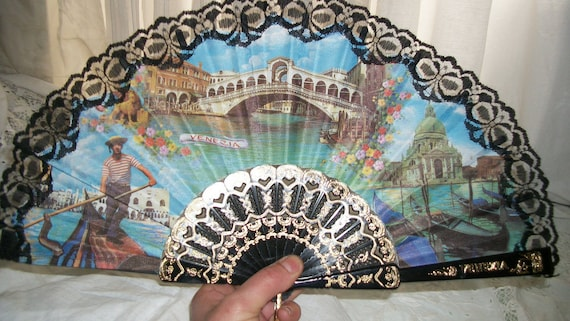 MARKED DOWN Vintage 1990 Venice Italy Souvenir Fan Black Lace and Gold Trim