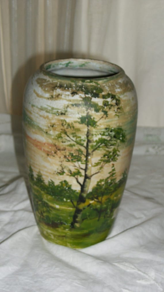 ON SALE Hand Painted Vintage Ceramic Vase with Forest Scene Early 1980s Signed by Artist