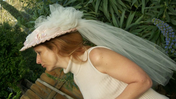 Beautiful Antique Victorian Hat Pale Pink Lace White Tulle Absolutely Stunning One Size Fits All