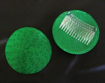 Kelly Green Fascinator Straw Hat base with attached Comb
