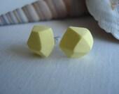lemon icy - gem-cut clay stud earrings