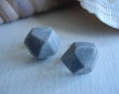 smoked shimmer - gem-cut clay stud earrings
