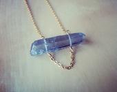gray titanium quartz necklace- necklace