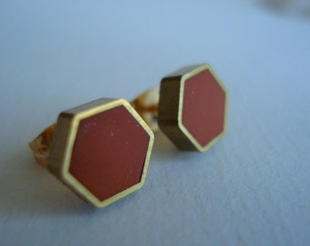 moroccan brown SMALL brass hexagon stud earrings