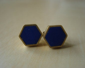 navy blue mini brass hexagon stud earrings