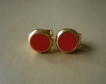 hot coral small brass circle stud earrings