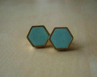 robin's egg mini brass hexagon stud earrings