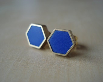 royal blue mini brass hexagon stud earrings