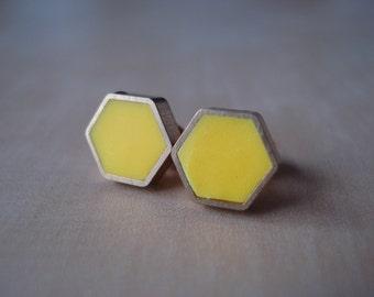 canary yellow mini brass hexagon stud earrings