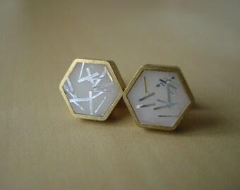 ivory with silver glitter sprinkles - mini brass hexagon stud earrings