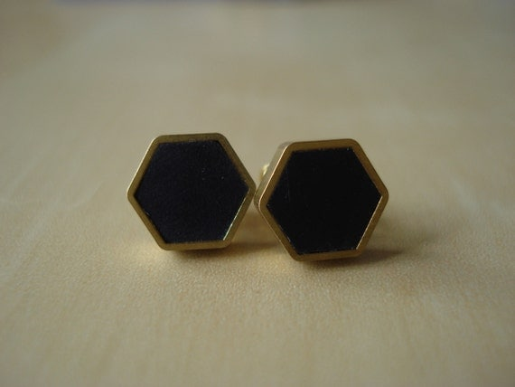 black small brass hexagon stud earrings