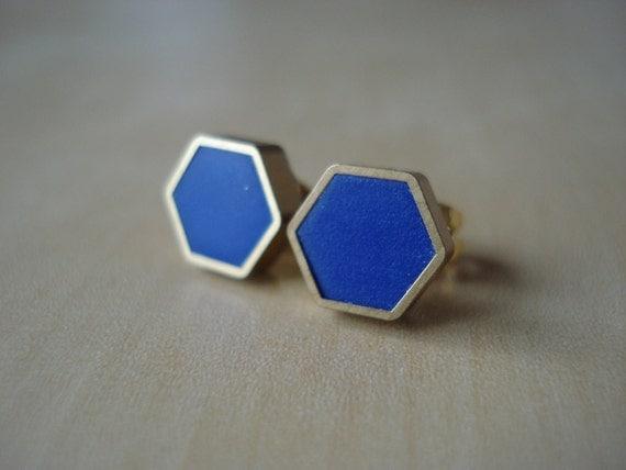royal blue mini brass hexagon stud earrings