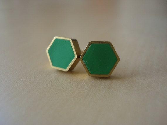 kelly green mini brass hexagon stud earrings
