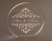 Monogrammed  Cake Topper -  4x4 Custom Engraved in Clear Acrylic