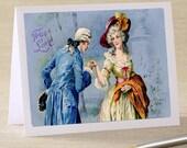 Vintage Print - True Love Romantic Edwardian Couple -  Folded Notecard