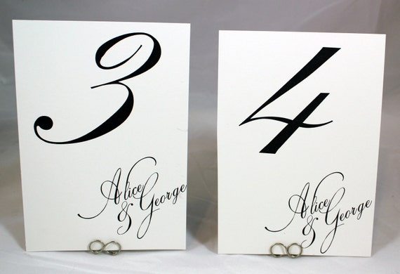 Custom Table Numbers - Simple Chic Calligraphy -  Printed Cards