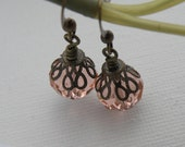 Rose Swarovski Crystal Dangle Earrings
