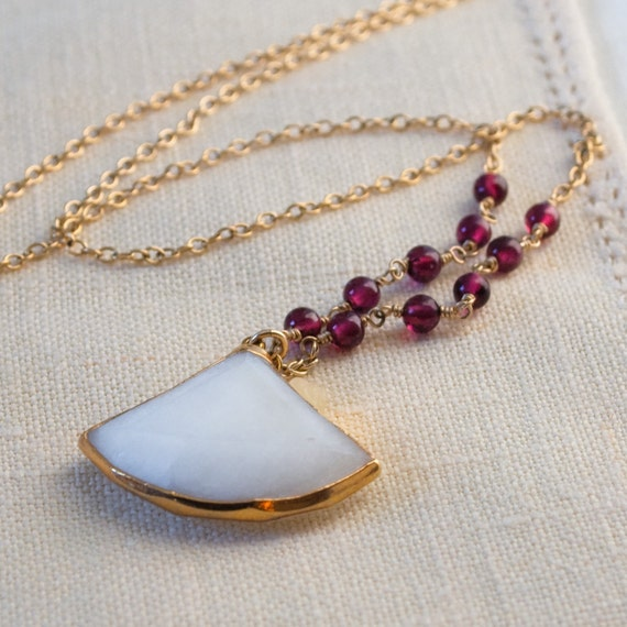 White Chalcedony Red Garnet Necklace 14k Gold Fill Wire Wrapped