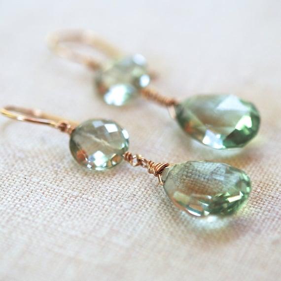 Green Amethyst Earrings February Birthstone Teardrop Dangles14k Gold Fill Wire Wrapped