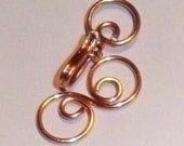 Handmade Copper Clasp, Wire Swirly Jewelry Findings