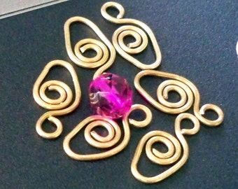 Egg Brass Wire Dangle Charm Connections ( 8 )