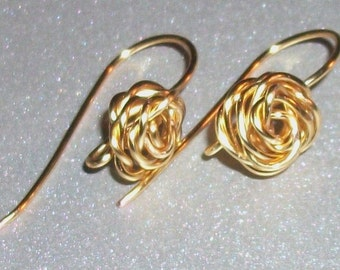 Brass Rose 20g Handmade Earwires, Jewelry Supply, Findings