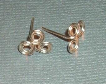 Silver Plate Triskelet Celtic Ear Studs