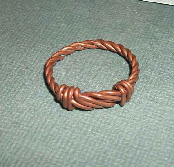 Copper Twisted Wrap Ring 8