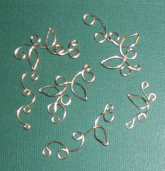Silver Plate Floral Wire Vine Scrapbook charms