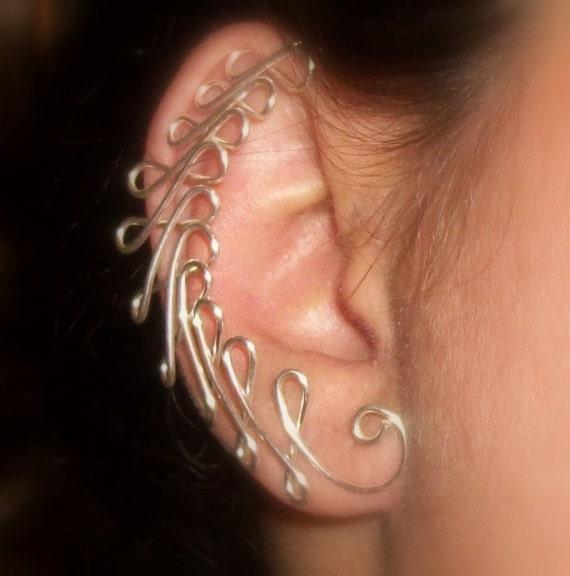Ear Jacket, Ear Cuff, Bows, ear decoration, ear jewelry, silver plate, gold plate, ear accessories,  non pierced