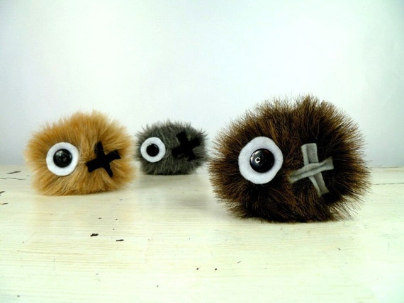 Plush Pet Rock in Chocolate Brown Handmade with Upcycled, Recycled, and Eco Friendly Materials