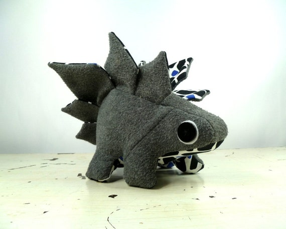 Plush Stegosaurus in Gray Wool with Black and White Accents and Buckle Handmade with Upcycled, Recycled, & Eco Friendly Materials