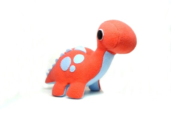 Eco Plush Brontosaurus Dinosaur in Salmon with Sky Blue Polka Dot Accents Handmade with Upcycled, Recycled, & Eco Friendly Materials