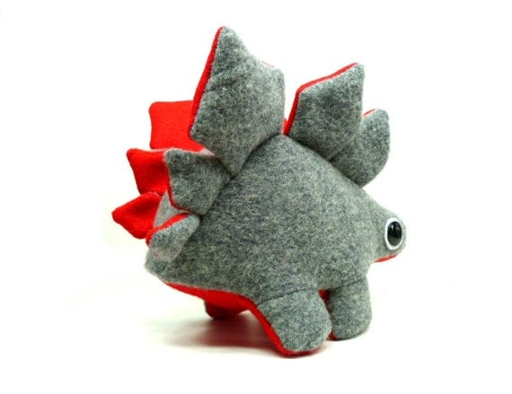 Eco Plush Stegosaurus Dinosaur in Gray with Red Accents Handmade with Upcycled, Recycled, & Eco Friendly Materials