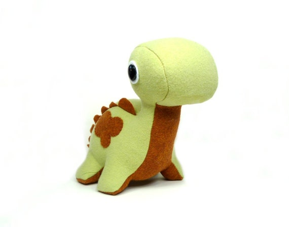 Eco Plush Brontosaurus in Pistachio Green with Rust Brown Accents Handmade with Upcycled, Recycled, & Eco Friendly Materials