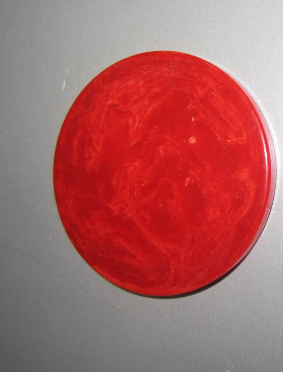 Fantastic Translucent Vintage Bakelite Catalin Marbled Red Round Disc
