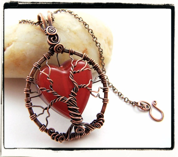 004 Tree of Life Antique Copper Red Heart Pendant no Chain