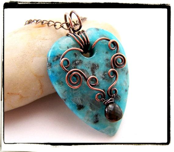 003 Blue Sesame Jasper Gemstone Heart Pendant with Chain