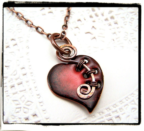 054 Sweet Red Enamel Glass Heart Pendant with Woven Copper Bail no Chain